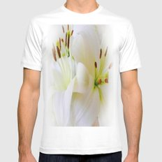 White Lilies MEDIUM White Mens Fitted Tee