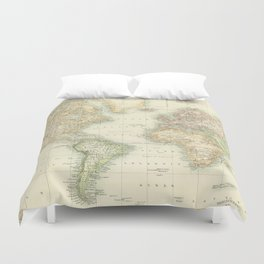 Vintage Map of The World (1872) Duvet Cover