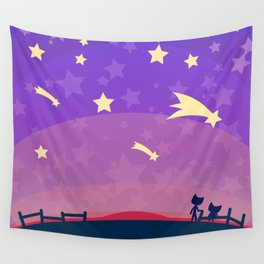 Starry sunset seen by cats Wall Tapestry