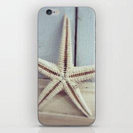 Pale Starfish on Blue iPhone Skin