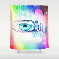 all seeing eye Shower Curtains featuring All Seeing Eye by The Expression Studio