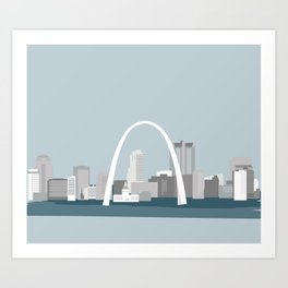 Modern Minimal St. Louis Missouri City Skyline Art Print