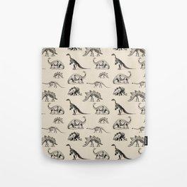Museum Animals | Dinosaur Skeletons on Cream Tote Bag