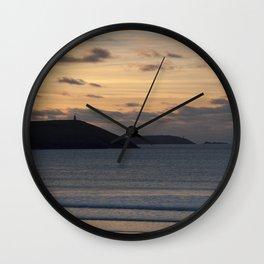 Evening Skies Over Polzeath Wall Clock