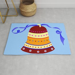 Bell and blue ribbon Rug