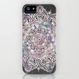 Dreaming Mandala - Magical Purple on Gray iPhone Case