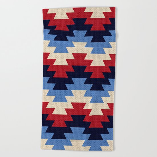 Aztec geometric pattern Beach Towel