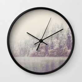 winter wonderland & the mountain lake ...  Wall Clock