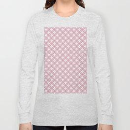 Modern geometric pink white quatrefoil pattern Long Sleeve T-shirt