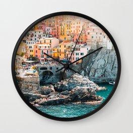 Manarola Town in Cinque Terre Wall Clock