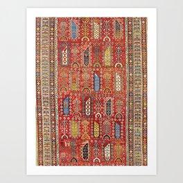 Shirvan Caucasian Antique Carpet Print Art Print