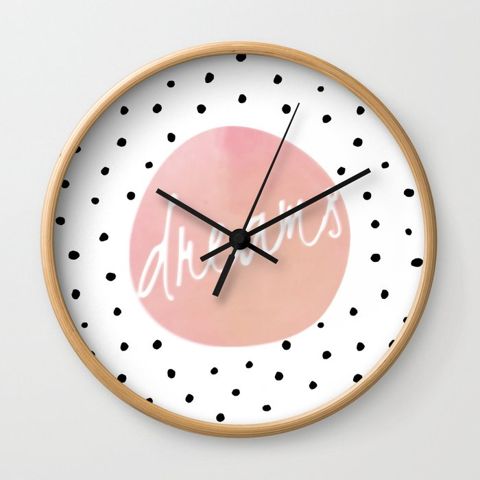 Dreams - Polkadots and Typography on pink background Wall Clock