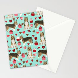 Sheltie shetland sheepdog valentines day love hearts cupcakes dog gifts puppies pet friendly art Stationery Cards
