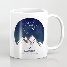 Astrology Sagittarius Zodiac Horoscope Constellation Star Sign Watercolor Poster Wall Art Coffee Mug