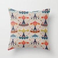 damask Throw Pillows featuring carousel damask by Sharon Turner