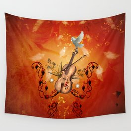 Violin with violin bow and dove Wall Tapestry