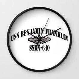 USS BENJAMIN FRANKLIN (SSBN-640) BLACK LETTERS Wall Clock