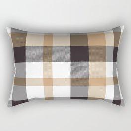 Brown Taupe Plaid Tartan Checkered Pattern Rectangular Pillow