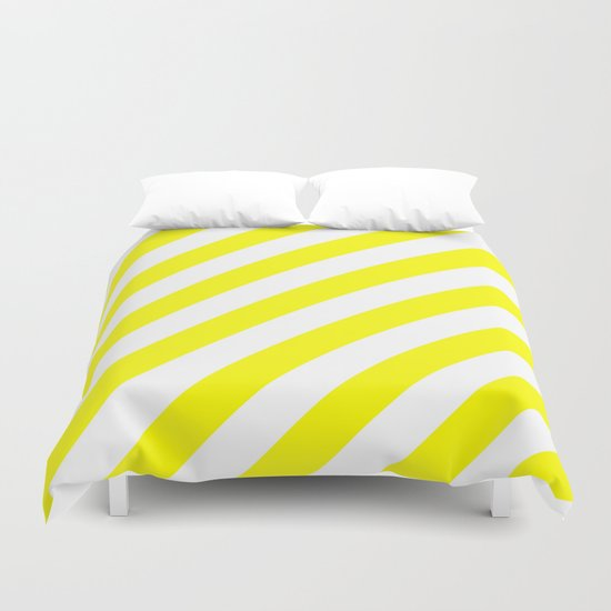 Diagonal Stripes (Yellow/White) Duvet Cover