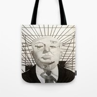 hitchcock Tote Bags featuring Hitchcock by Abbi Burrows