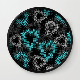 Broken heart . Black and turquoise pattern . Wall Clock