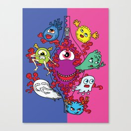 Monsters under the zipper Canvas Print