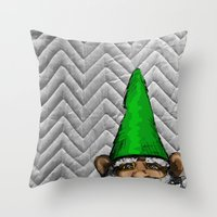 gnome Throw Pillows featuring Gnome by FeralEva