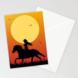 Riding Under a Harvest Moon Stationery Cards