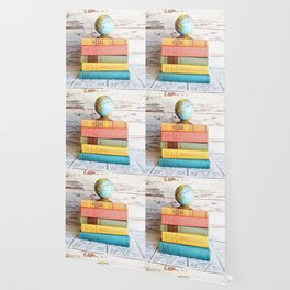Candy Colored Stack of Books Wallpaper