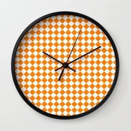 Small Diamonds - White and Orange Wall Clock