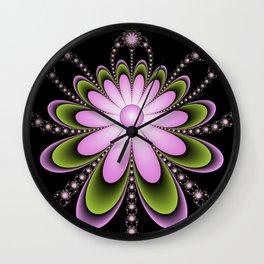 Pink Flowers Decoration, Modern Fractal Art Design Wall Clock