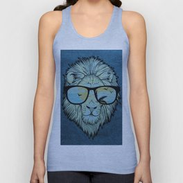 Stylish Lion Design with Moroccan Leather background Unisex Tank Top