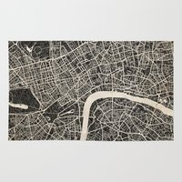 london map Area & Throw Rugs featuring London map by NJ-Illustrations