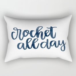 Crochet All Day - Navy Rectangular Pillow