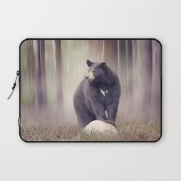 Black bear on a rock  in the woods Laptop Sleeve