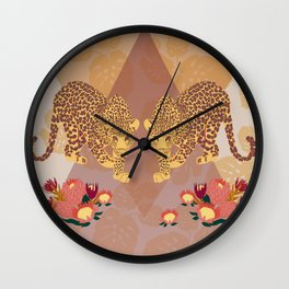 Two Leopards on Gold Geo Pink Floral Jungle Wall Clock