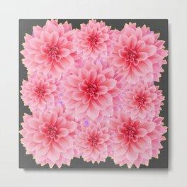 PINK DAHLIA FLOWERS IN GREY DESIGN Metal Print