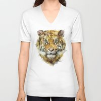 tiger V-neck T-shirts featuring Tiger // Strength by Amy Hamilton