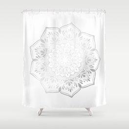 Silver Mandala Mehndi Inspired Yoga Shower Curtain