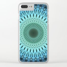 Light blue mandala with a bit of green Clear iPhone Case