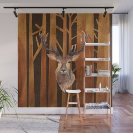 Proud deer in forest 1- Watercolor illustration Wall Mural