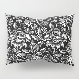 William Morris Sunflowers, Black and White with Gray Pillow Sham