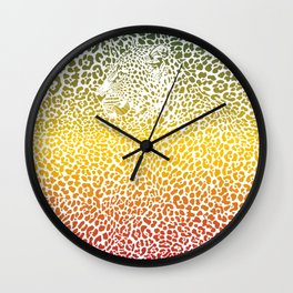 Color background with Leopards Wall Clock
