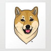shiba inu Art Prints featuring Shiba Inu by Bleachydrew