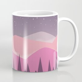 Pink Mountains | Stylized digital landscape Coffee Mug