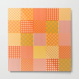 Patchwork Quilt in Oranges and Lemons Metal Print