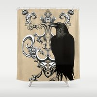 raven Shower Curtains featuring Raven by Кaterina Кalinich