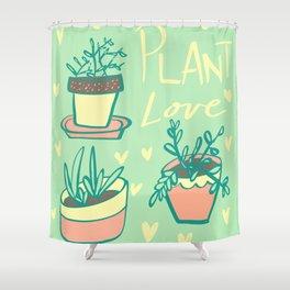 Plant Love Pastel Plant Design Shower Curtain