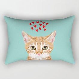 Mackenzie - Orange Tabby Cute Valentines Day Kitten Girly Retro Cat Art cell phone Rectangular Pillow