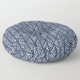 Abstract Leaf Pattern in Blue Floor Pillow